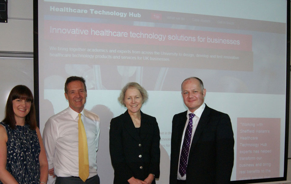 Pictured at the launch, from left to right: Pippa Hedley (Creative Sheffield), Kevin Kiely (Medilink Y&H), Karen Bryan (Sheffield Hallam University), Keith Jackson (JRI Orthopaedics)